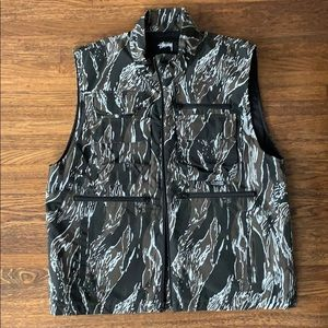 Men's Stussy Black Cotton Nylon Padded Camo Vest